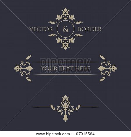 Classical Elements. Monogram And Borders.