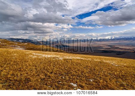 Mountains Valley Sky Autumn Snow