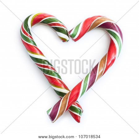 Christmas Candy Striped Heart