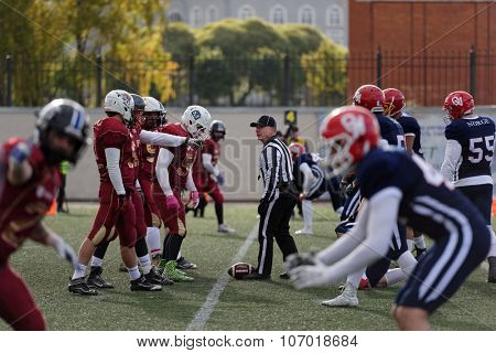 PUSHKIN, LENINGRAD OBLAST, RUSSIA - OCTOBER 10, 2015: Qualifying match of American Football European Championship 2016 Russia vs Norway. Russia won the match 20:0