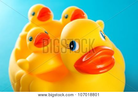 Yellow Rubber Duck And Little Duckies Isolated On White