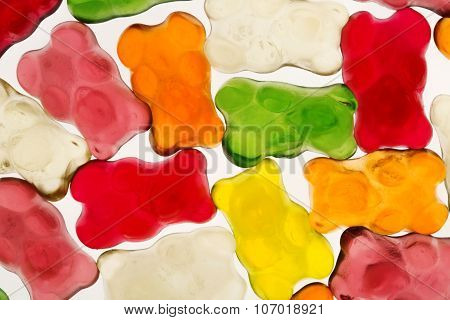 Colorful Gummy Bears Or Jellybears Candies Over White