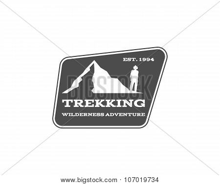 Vintage mountain, hiking, trekking camp logo, label, badge. Stylish Monochrome design. Outdoor activ