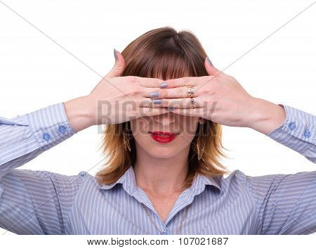 business woman covers her face with his hand