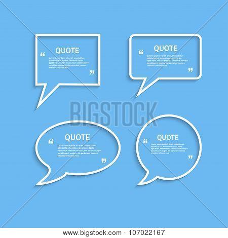 Quote outline speech bubble set