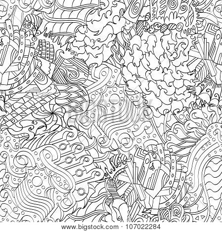 Seamless Pattern, Symbolizing The Subconscious. Scraps Of Thought, Spikes, Hooks Show The World Of T