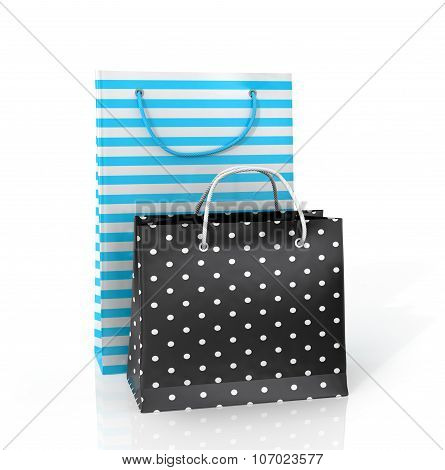 Two Colorful Paper Bags For Shopping On A White Background.