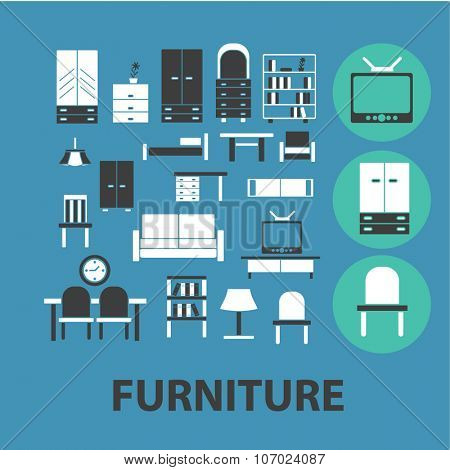 furniture icons, signs vector concept set for infographics, mobile, website, application