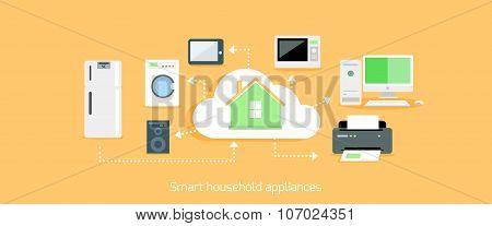 Smart Household Appliances Icon Flat Design