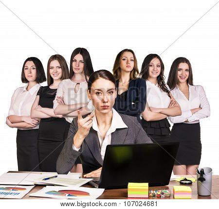 Business people working with laptop over white backgrond