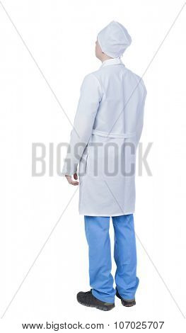 Back view of doctor in robe. Standing young guy. Rear view people collection.  backside view of person.  Isolated over white background.