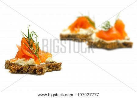 Canapes  In Star Shape With Smoked Salmon For A Christmas Dinner