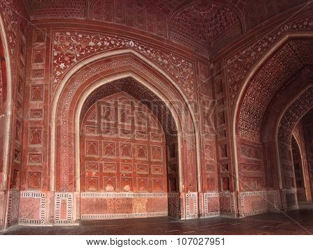 AGRA, INDIA - NOVEMBER 17, 2012: Walls of building in famous Taj Mahal mausoleum