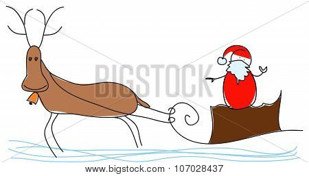 Santa Claus is flying with a reindeer