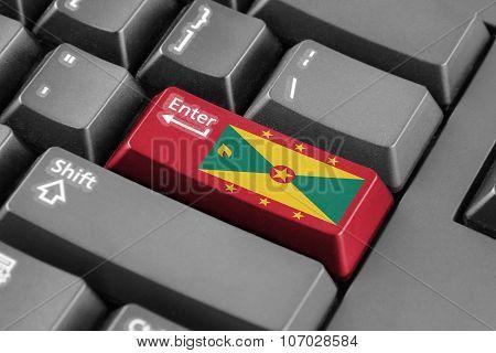 Enter Button With Grenada Flag