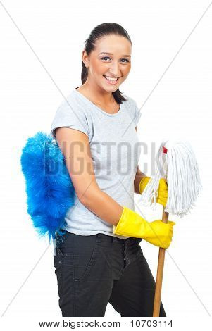 Happy  Woman With Mop And Brush