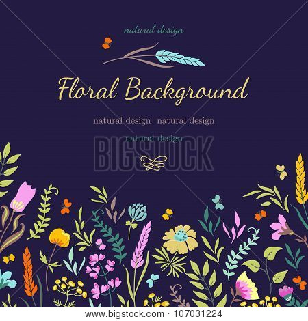 Card With Colorful Flowers
