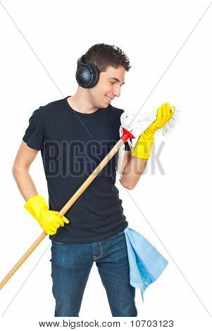 Funny Cleaning Man Dance With Mop