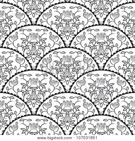 Stylized Fish Scale Japan Seamless Pattern. Flower Branches Swirls In Grayscale Colors.