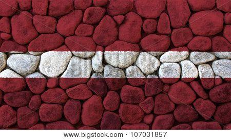 flag of Latvia, Latvian flag painted on stone