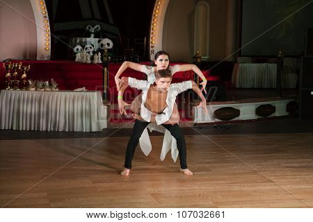 MOSCOW - OCTOBER 18: Unidentified teens age 14-18 compete in latino dance on the Artistic Dance Awards 2014-2015, organized by World Dance Artistic Federation on October 18, 2015 in Moscow.