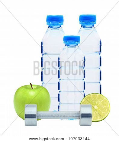 Blue Bottles With Water, Chromed Fitness Dumbbells, Lime And Green Apple Isolated On White