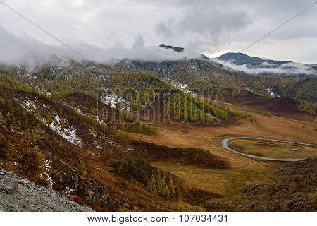 Mountains Valley Autumn Fog Top View