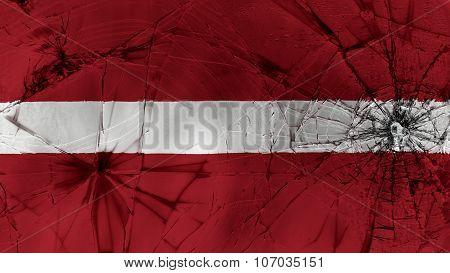 flag of Latvia, Latvian flag painted on broken glass