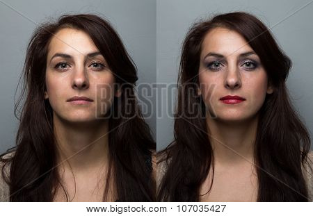 Young woman before and after make up