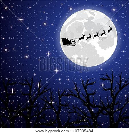 Santa Claus Riding On A Reindeer On A Background Of The Full Moon In The Forest