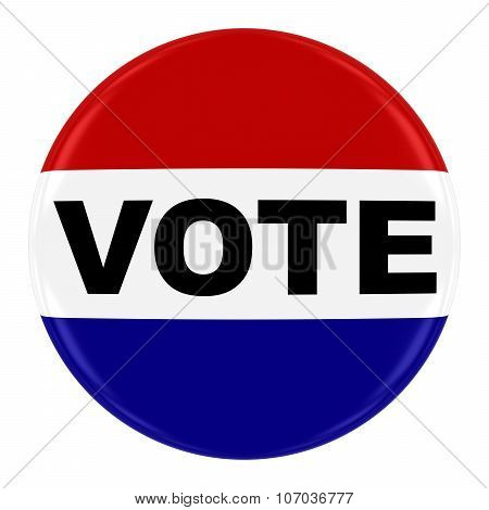 Vote Pin Badge - Us Elections Button Isolated On White