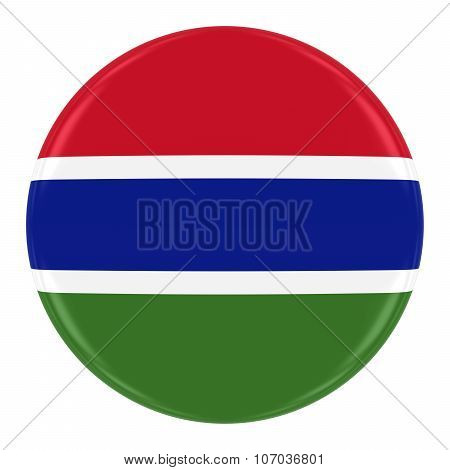 Gambian Flag Badge - Flag Of Gambia Button Isolated On White