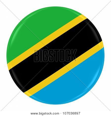 Tanzanian Flag Badge - Flag Of Tanzania Button Isolated On White