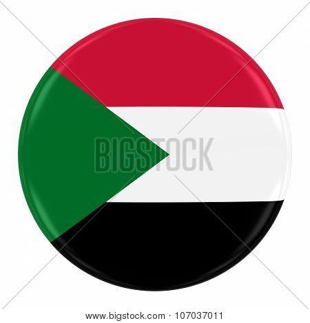 Sudanese Flag Badge - Flag Of Sudan Button Isolated On White