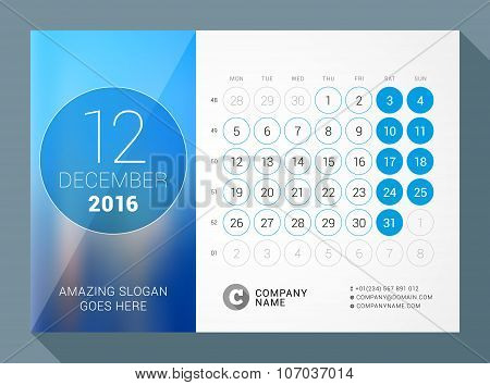 December 2016. Desk Calendar For 2016 Year. Vector Design Print Template With Place For Photo