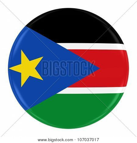 South Sudanese Flag Badge - Flag Of South Sudan Button Isolated On White
