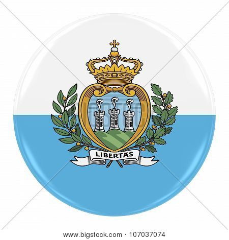 Sammarinese Flag Badge - Flag Of San Marino Button Isolated On White