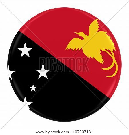 Papua New Guinean Flag Badge - Flag Of Papua New Guinea Button Isolated On White