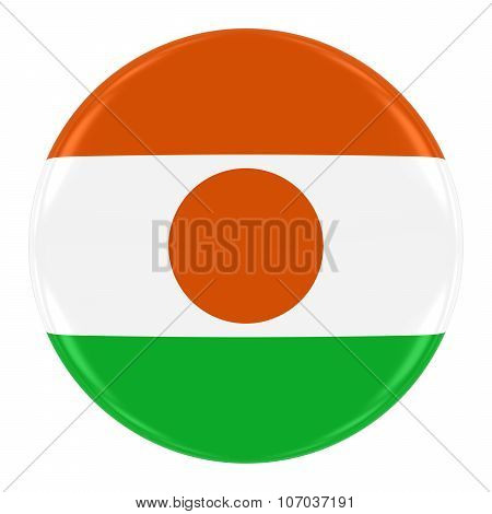 Nigerien Flag Badge - Flag Of Niger Button Isolated On White
