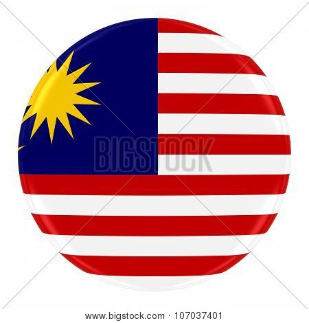 Malaysian Flag Badge - Flag Of Malaysia Button Isolated On White