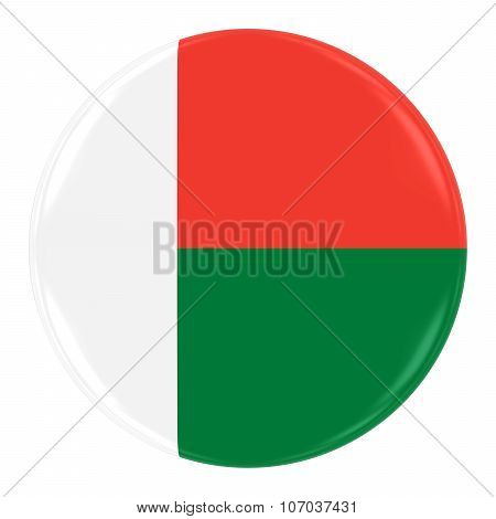 Madagascan Flag Badge - Flag Of Madagascar Button Isolated On White