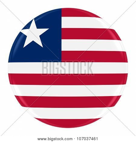 Liberian Flag Badge - Flag Of Liberia Button Isolated On White