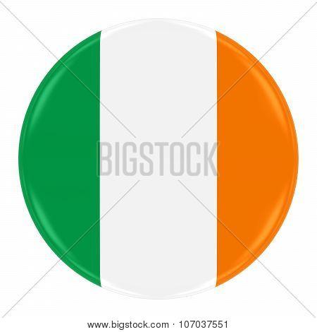 Irish Flag Badge - Flag Of Ireland Button Isolated On White