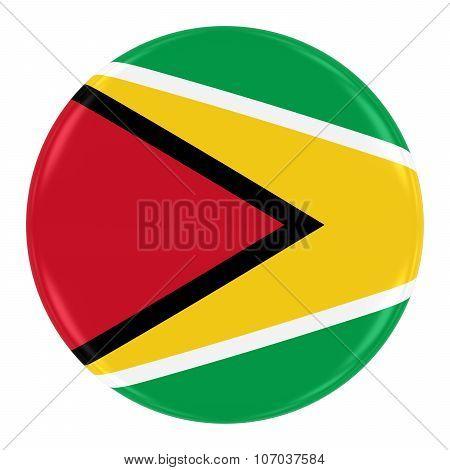 Guyanese Flag Badge - Flag Of Guyana Button Isolated On White