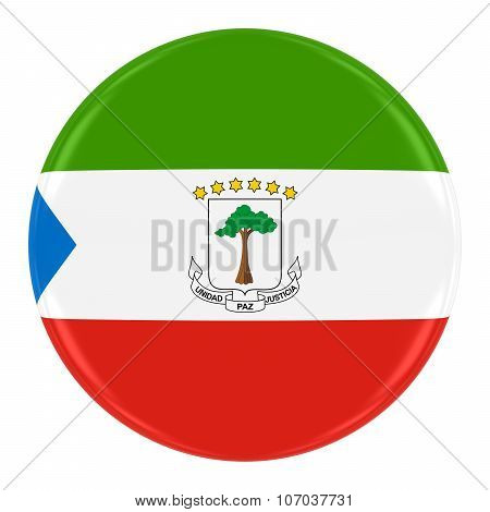 Equatorial Guinean Flag Badge - Flag Of Equatorial Guinea Button Isolated On White
