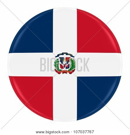 Dominican Flag Badge - Flag Of The Dominican Republic Button Isolated On White