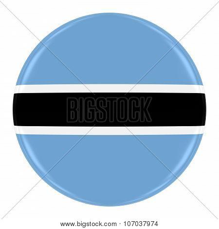 Botswanan Flag Badge - Flag Of Botswana Button Isolated On White