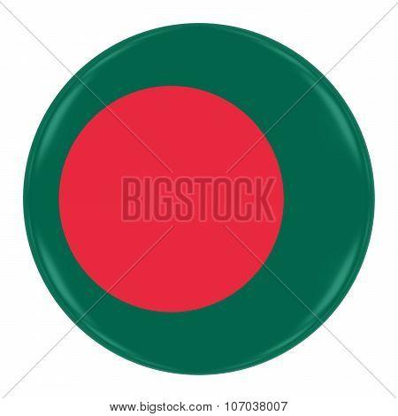 Bangladeshi Flag Badge - Flag Of Bangladesh Button Isolated On White