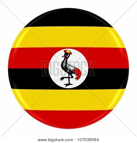 Ugandan Flag Badge - Flag Of Uganda Button Isolated On White