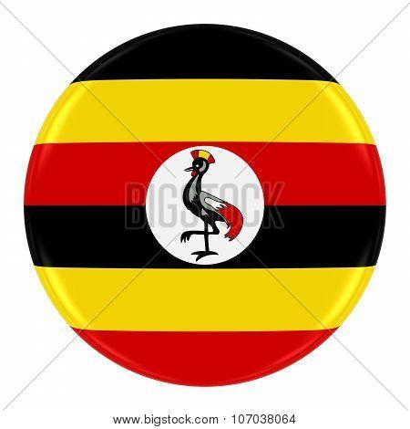 Ugandan Flag Badge - Flag Of Uganda Button Isolated On White